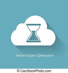 motor, plano, búsqueda, optimization, -, ilustración, vector, seo, icono