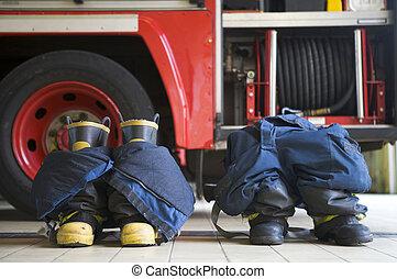 motor, uniformes, firefighting, piso, fuego, dos