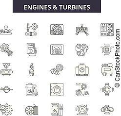 Motores y turbinas línea iconos, señales fijas, vector. Los motores y las turbinas delinean el concepto, ilustración: motor, torbina, poder, aire, ventilador, hoja
