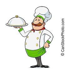 moustache., illustration., character., cocinero, vector, caricatura