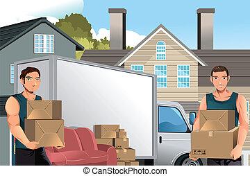 Mover hombres con camiones y cajas