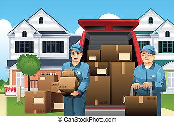 Movers llevando cajas
