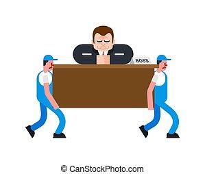 Movers y jefe en la mesa. Los porteros llevan a los hombres de negocios en el escritorio. Servicio de entrega. Cargador de carga. Ilustración de vectores