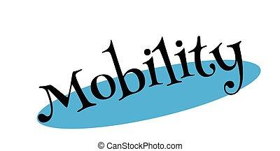 movilidad, estampilla, caucho