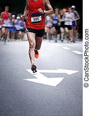 movimiento, corredores, -, maratón, confuso