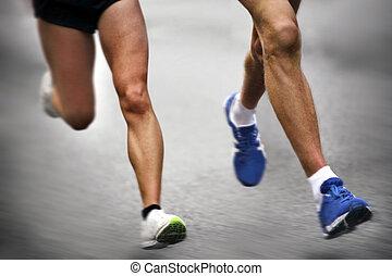 movimiento, -, corredores maratón, confuso