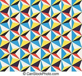 Movimiento diagonal de vector, triángulos geométricos sin costura, patrón de color amarillo rojo y blanco