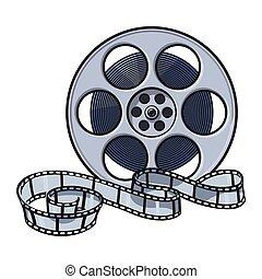 movimiento, vector, cine, imagen, estilo, carrete de película, ilustración, bosquejo, clásico