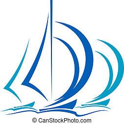 movimiento, veleros, dinámico