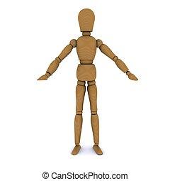 Muñeca de madera, manos a los costados. 3D
