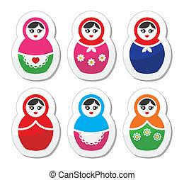 muñeca rusa, babushka, retro, iconos