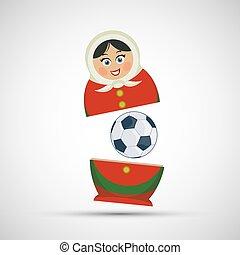 Muñeca rusa que anida con una pelota de fútbol.
