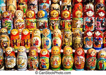 Muñecas rusas en exhibición