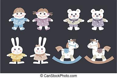 Muñecas y animales de peluche