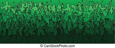Mucha gente bailando, verde