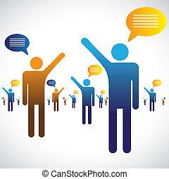 Mucha gente habla, habla o habla gráfico. La ilustración muestra a mucha gente símbolos con iconos de chat hablando entre sí