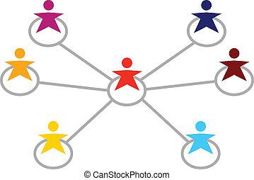 Mucha gente multicultural conectándose en blanco