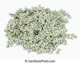 Mucho dinero en la superficie blanca