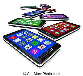 muchos, apps, pantallas, teléfonos, tacto, elegante