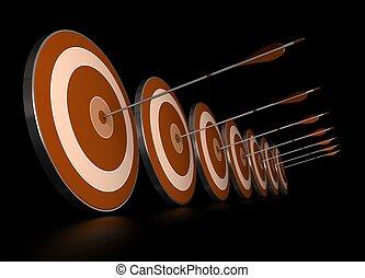 Muchos blancos naranjas en fila más siete flechas, cada flecha golpea el centro de un objetivo, la imagen sobre el fondo negro,