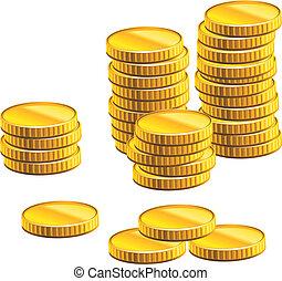 muchos, coins, oro