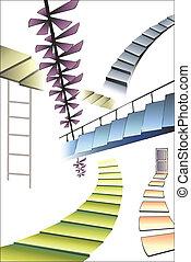 muchos, diferente, escaleras