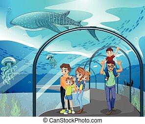 muchos, familias, acuario, visitar