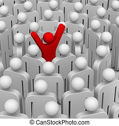muchos, gente, alrededor, líder