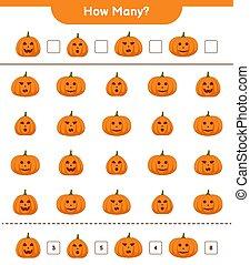 muchos, ilustración, educativo, niños, vector, printable, worksheet, juego, contar, cómo, calabazas