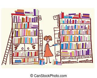 muchos, libros, caricatura, biblioteca, niño