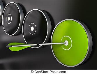 Muchos objetivos más un blanco verde sobre un fondo negro, una flecha golpeó el centro del dardo verde