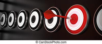 Muchos objetivos sobre un fondo negro con reflexión, un dardo rojo golpeó el centro de un blanco rojo, estilo horizontal