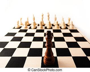 muchos, pedazo, enemies., ajedrez, solo, rey, posición, contra, arriba, el suyo