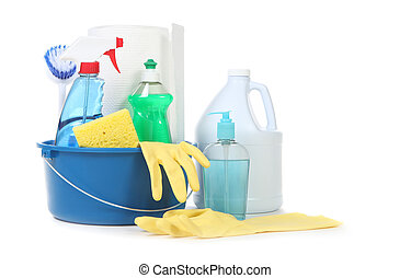 Muchos productos útiles de limpieza diaria