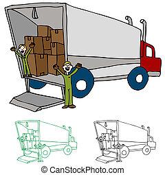 mudanza, compañía, camión