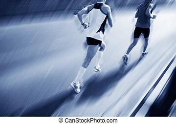 mudanza, dos, corredores, fast.