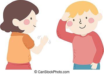 mudo, niños, hablar, hola, ilustración, saludo