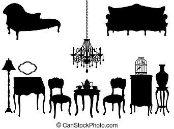 Muebles antiguos, vector