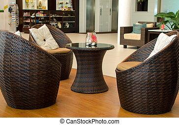 Muebles de sillón Rattan.