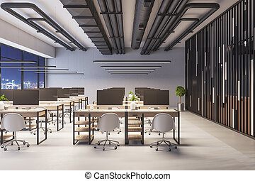 muebles modernos, ciudad, 3d, equipo de oficina, interior, corporativo, vista, rendering., noche, coworking, time.