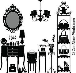 muebles, mujer, habitación, cosmético