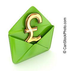 muestra de la libra, envelope., verde, esterlina