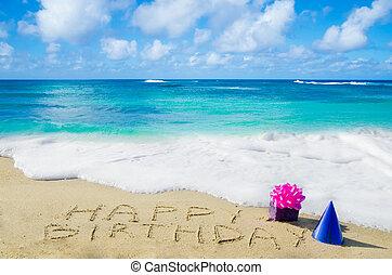 """muestra de la playa, birthday"""", arenoso, """"happy"""