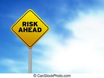 muestra del camino, adelante, riesgo
