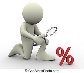 muestra del porcentaje, 3d, hombre