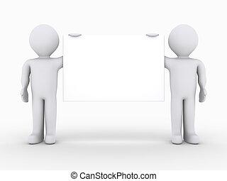 muestra en blanco, dos, tenencia, gente