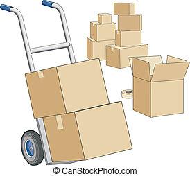 Muevan Dolly y cajas