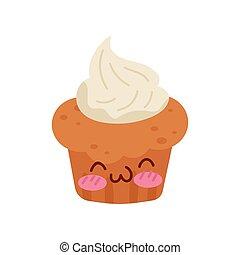Muffin con crema de Kawaii, caricatura de caricatura vector de caracteres de caracteres sobre un fondo blanco