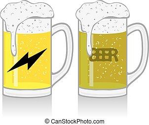 Mug con cerveza en blanco