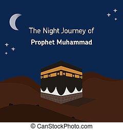 muhammad, gráfico, ilustración, profeta, noche, vector, viaje